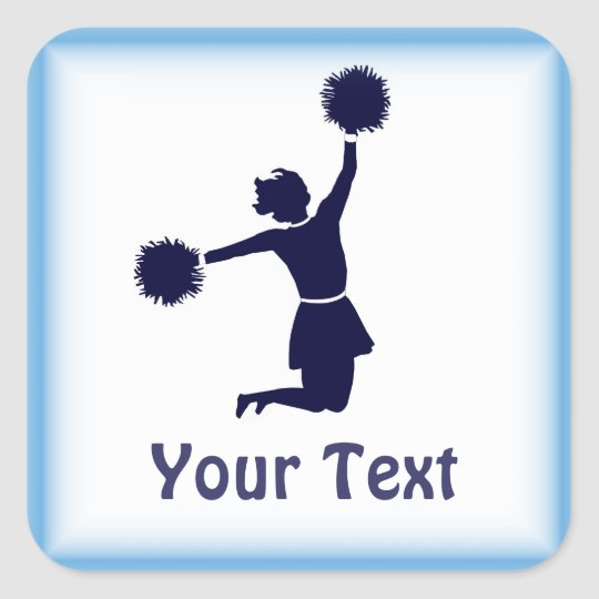 Cheerleader In Silhouette Blue Border Sticker