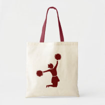 Cheerleader In Silhouette Canvas Shopping Bag at Zazzle