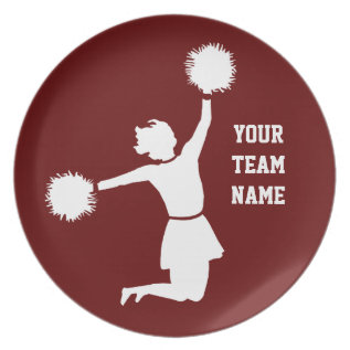 Cheerleader In Silhouette Commemorative Plate Red at Zazzle