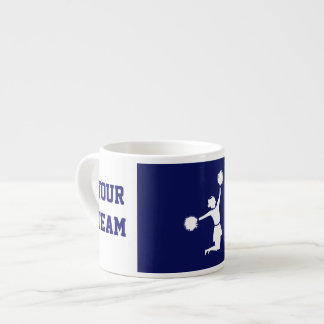 Cheerleader In Silhouette Jumps With Poms Blue Espresso Cup