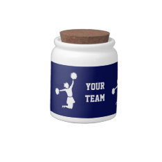 Cheerleader In Silhouette Jumps With Poms Blue Jar Candy Dish at Zazzle