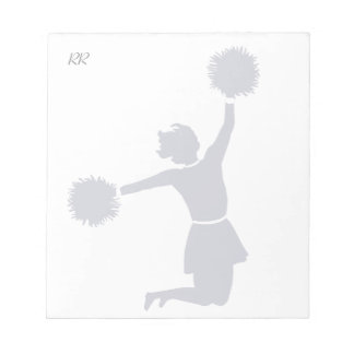Cheerleader In Silhouette Jumps With Poms Memo pad