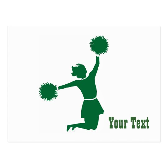Cheerleader In Silhouette Jumps With Poms Postcard