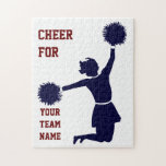 Cheerleader In Silhouette Jumps With Poms Puzzle at Zazzle
