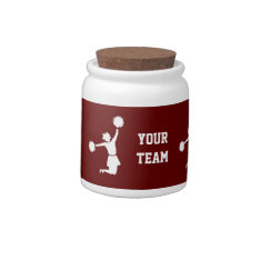Cheerleader In Silhouette Jumps With Poms Red Jar Candy Dishes at Zazzle