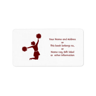 Cheerleader In Silhouette Name And Address Label at Zazzle