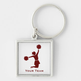 Cheerleader In Silhouette Sports Bag Zip Pull Keychain
