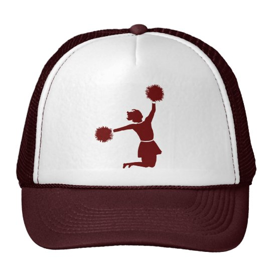 Cheerleader In Silhouette Sports Team Club Hat