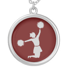 Cheerleader In Silhouette Sterling Silver Necklace at Zazzle