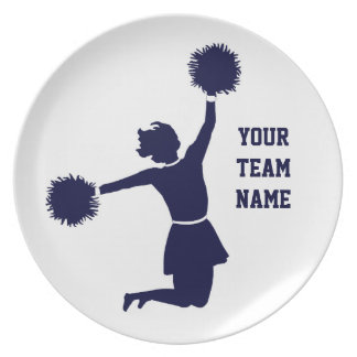 Cheerleader In Silhouette With Poms Plate White