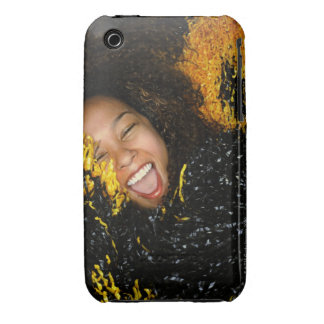 Cheerleader laughing, surrounded by pompoms, Case-Mate iPhone 3 case