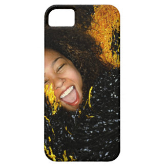 Cheerleader laughing, surrounded by pompoms, iPhone SE/5/5s case