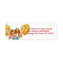 cheerleader, cheerleading, pom-poms, pom, address, label, al rio, Label with custom graphic design