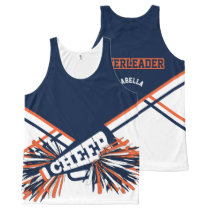 Cheerleader -Orange & Navy Blue All-Over-Print Tank Top