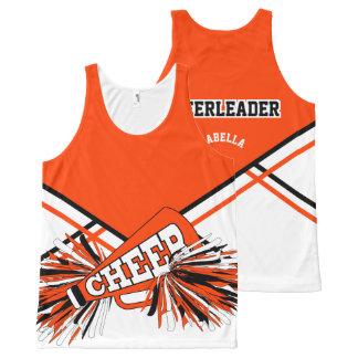 Cheerleader -Orange, White & Black All-Over-Print Tank Top