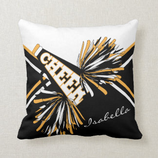 Cheerleader Outfit in Black, White & Gold Throw Pillow