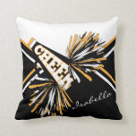 "Cheerleader Outfit in Black, White &amp; Gold Throw Pillow<br><div class=""desc"">Cheerleader Outfit Styled Pillows - Add your name and/or school name. More colors available. Makes a great personalized gift for a cheerleader. 100% Customizable. Click on the CUSTOMIZE button to add, move, delete, resize or change any of the font or graphics. Made with high resolution vector and/or digital graphics for...</div>"