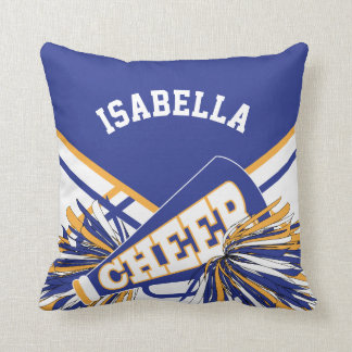 Cheerleader Outfit in  Blue, White & Gold Throw Pillow