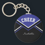 """Cheerleader Outfit in Dark Blue Keychain<br><div class=""""desc"""">Cheerleader Keychain made to look like a school cheerleader outfit. More colors are available. Makes a great little gift for any cheerleader Pee Wee to Pro, cheerleader coach, and also the cheerleader moms and/or dads. Customize with your name, school, name, mascot, class year, whatever you want. 100% Customizable. Ready to...</div>"""