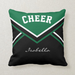 Cheerleader Outfit in Dark Green Throw Pillow