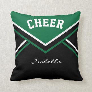 Cheerleader Outfit in Dark Green Throw Pillow