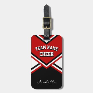 Cheerleader Outfit in Dark Red, Black and White Luggage Tag