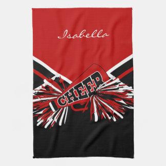 Cheerleader Outfit in Dark Red, Black & White Hand Towels