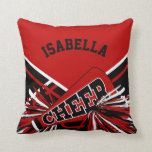 "Cheerleader Outfit in Dark Red, Black &amp; White Throw Pillow<br><div class=""desc"">Cheerleader Outfit Styled Pillows - Add your name and/or school name. More colors available. Makes a great personalized gift for a cheerleader. 100% Customizable. Ready to Fill in the box(es) or Click on the CUSTOMIZE button to add, move, delete or change any of the text or graphics.Made with high resolution...</div>"