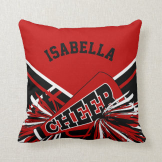 Cheerleader Outfit in Dark Red, Black & White Throw Pillow