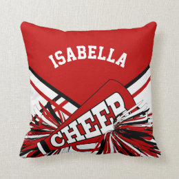 Cheerleader Outfit in Dark Red, White & Black Throw Pillow