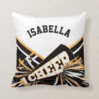 Cheerleader Outfit in Gold, White and Black Throw Pillow