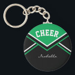 "Cheerleader Outfit in Green Keychain<br><div class=""desc"">Cheerleader Keychain made to look like a school cheerleader outfit. More colors are available. Makes a great little gift for any cheerleader Pee Wee to Pro, cheerleader coach, and also the cheerleader moms and/or dads. Customize with your name, school, name, mascot, class year, whatever you want. 100% Customizable. Ready to...</div>"