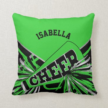 Beach Themed Cheerleader Outfit in Lime Green, Silver and Black Throw Pillow