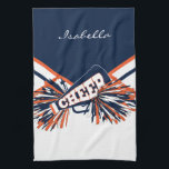 """Cheerleader Outfit in Navy Blue, Orange &amp; White Hand Towel<br><div class=""""desc"""">Cheerleader Hand Towels. Add your name and/or school name. More colors available. Makes a great personalized gift for a cheerleader. 100% Customizable. Ready to Fill in the box(es) or Click on the CUSTOMIZE IT button to change, move, delete or add any of the text or graphics. Made with high resolution...</div>"""