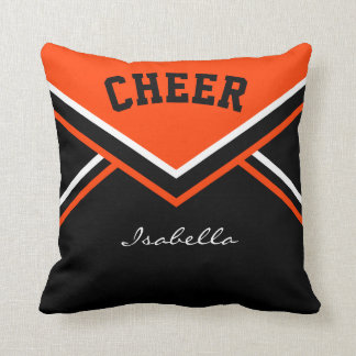 Cheerleader Outfit in Orange Throw Pillow