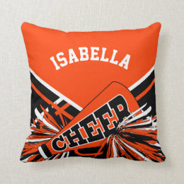 Cheerleader Outfit in Orange, White & Black Throw Pillow