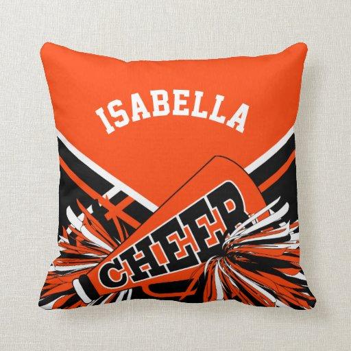 Cheerleader Outfit in Orange, White & Black Throw Pillow