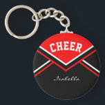 "Cheerleader Outfit in Red Keychain<br><div class=""desc"">Cheerleader Keychain made to look like a school cheerleader outfit. More colors are available. Makes a great little gift for any cheerleader Pee Wee to Pro, cheerleader coach, and also the cheerleader moms and/or dads. Customize with your name, school, name, mascot, class year, whatever you want. 100% Customizable. Ready to...</div>"