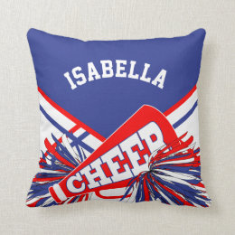 Cheerleader Outfit in Red, White, Blue Throw Pillow