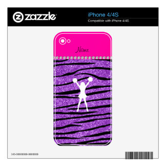 Cheerleader pastel purple glitter zebra stripes iPhone 4 skin
