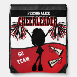 Cheerleader Personalize | Red White Black Drawstring Backpack