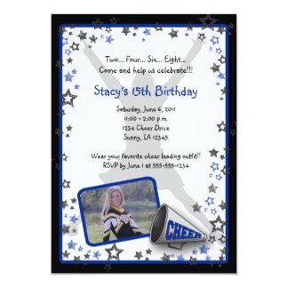 "Cheerleader Photo Invitation Blue 5"" X 7"" Invitation Card"