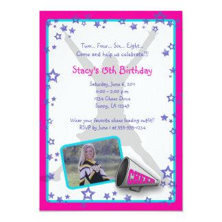 "Cheerleader Photo Invitation Pink Purple Turquois 5"" X 7"" Invitation Card"