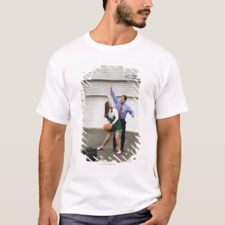 Cheerleader playing basketball with her father T-Shirt