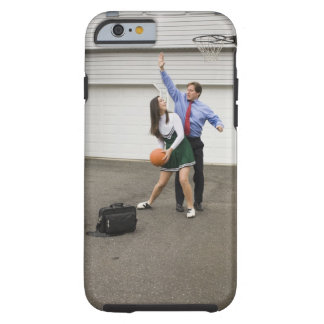 Cheerleader playing basketball with her father tough iPhone 6 case