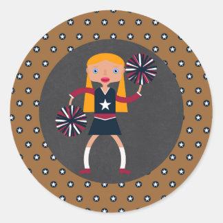 Cheerleader Pompoms girl Birthday Party Classic Round Sticker