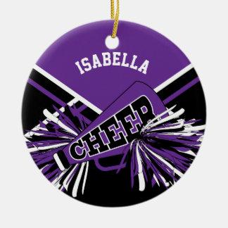 Cheerleader - Purple, Black and White Ceramic Ornament