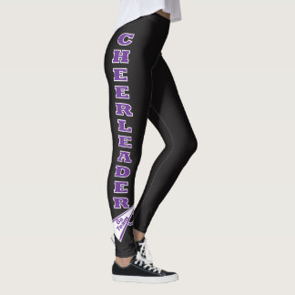 Cheerleader Purple Typography Letters Leggings