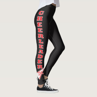 Cheerleader Red Typography Letters Leggings