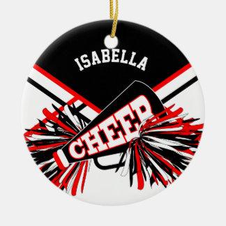 Cheerleader - Red, White and Black Ceramic Ornament
